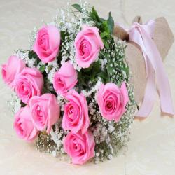 Pink Roses Bouquet in a Jute Wrapping