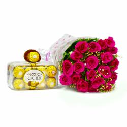 Pink Roses Bouquet with 200 Gms Ferrero Rocher Chocolate Box