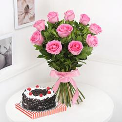 Pink Roses Bouquet with Black Forest Cake Online
