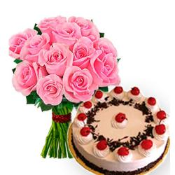 Pink Roses Bouquet With Black Forest Cake