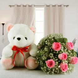 Pink Roses Bouquet with Cute Teddy Bear
