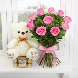 Pink Roses Bouquet with Teddy and Chocolates Online