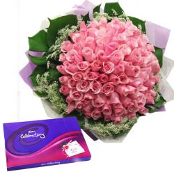 Pink Roses with Celebration Chocolate