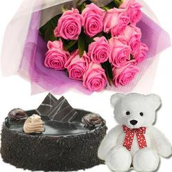 Pink Roses With Chocolate Cake and Teddy Bear