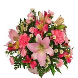 Pink Seasonal Flowers Basket