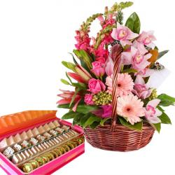 Pinky Floral Basket with Sweets