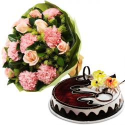 Pinky Flower With Black Forest Cake
