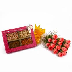 Preety 15 Pink Roses Bunch and Mix Dryfruits Box