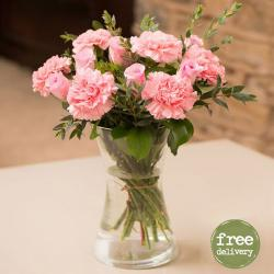 Pretty Carnations and Roses Vase