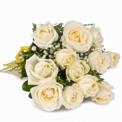 Pristine Twelve White Roses Bouquet