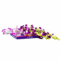 Purple Orchids with Cadbury Celebration Chocolate Box