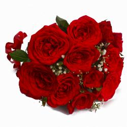 Radiant 12 Red Roses Bouquet with Tissue Wrapped