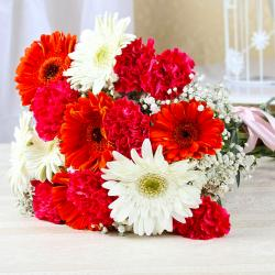 Ravishing Red and White Flower Bouquet