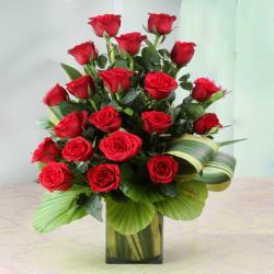 Ravishing Twenty Red Roses in Glass Vase
