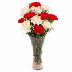 Red and White Carnations Vase Arrangement