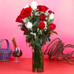 Red and White Roses in Vase Arrangement