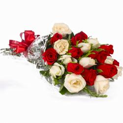 Red and White Roses Simple Bunch