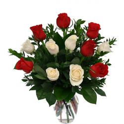 Red And White Roses Vase