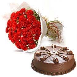 Red Carnation With Chocolate Cake