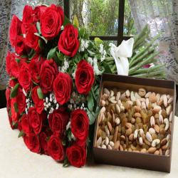 Red Color Roses Bouquet with Assorted Dry Fruits