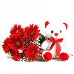 Red Gerberas Bouquet with Cute Teddy Bear