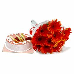 Red Gerberas Bouquet with Strawberry Cake