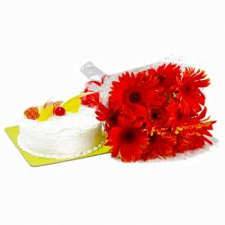 Red Gerberas Hand Tied Bunch with Pineapple Cake