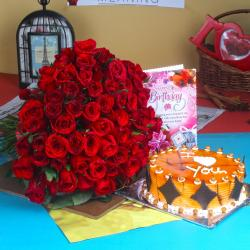Red Roses and Butterscotch Cake For Birthday Treat