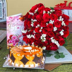 Red Roses and Butterscotch Cake with Birthday Greeting Card