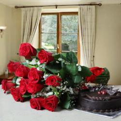 Red Roses and Cake Combo