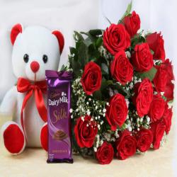 Red Roses and Cute Teddy Bear with Cadbury Dairy Milk Silk Chocolates