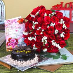 Red Roses and Eggless Cake with Birthday Card For Friend