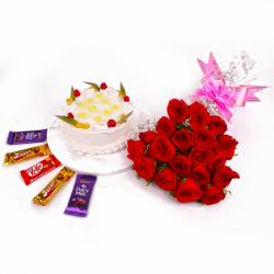 Red Roses and Pineapple Cake with Cadbury Chocolates