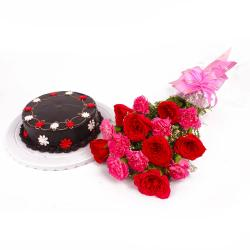 Red Roses and Pink Carnations with Chocolaty Cake