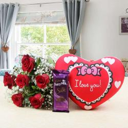 Red Roses and Small Heart Cushion with Cadbury Dairy Milk Silk Chocolates