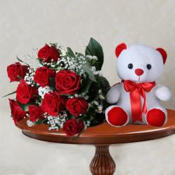 Red Roses and Teddy Hamper