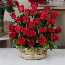 Red Roses Arrange in a Basket