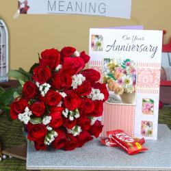 Red Roses Bouquet and Anniversary Greeting Card with Kit Kat Chocolate