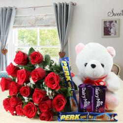 Red Roses Bouquet and Assorted Chocolate Bars with Soft Toy