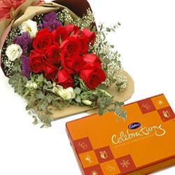 Red Roses Bouquet and Celebration Pack