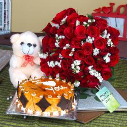 Red Roses Bouquet and Teddy Bear with Cake For Mom