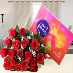 Red Roses Bouquet with Cadbury Celebration Chocolate Pack