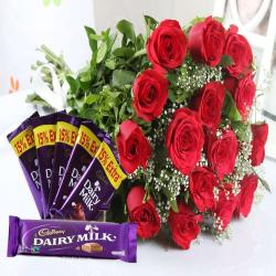 Red Roses Bouquet with Cadbury Chocolates Bars