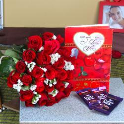 Red Roses Bouquet with Cadbury Dairy Milk Chocolate and Love Greeting Card