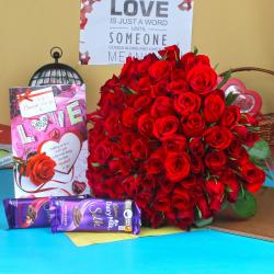 Red Roses Bouquet with Chocolate and Card