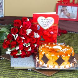 Red Roses Bouquet with Love Greeting Card and Butterscotch Cake
