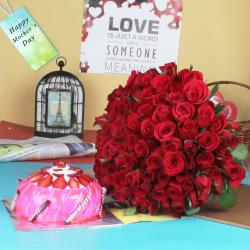 Red Roses Bouquet with Strawberry Cake