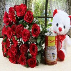 Red Roses Bouquet with Teddy Bear and Rasgulla Sweet