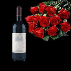 Red Roses Bouquet with Wine Bottle for Midnight Delivery