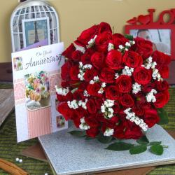 Red Roses Bunch with Anniversary Greeting Card